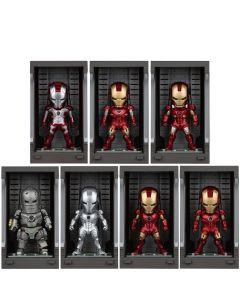 Pack Iron Man Mark I - VII with Hall of Armor - Mini Egg Attack - Iron Man 3 - Beast Kingdom